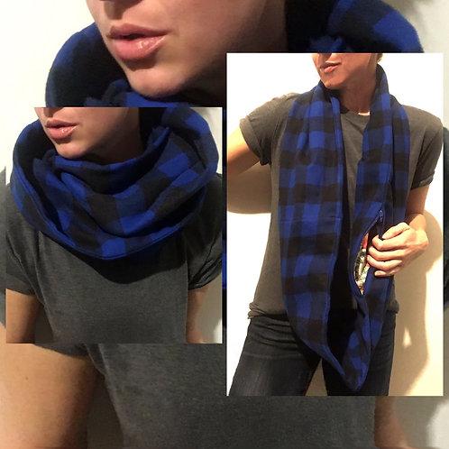Blue/Black Buffalo Plaid Flannel Infinity Scarf w/ Hidden Zippered Pocket