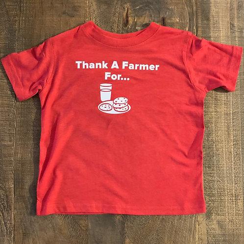 "Toddler ""Thank a Farmer for Milk & Cookies"" Fine Jersey Tee"