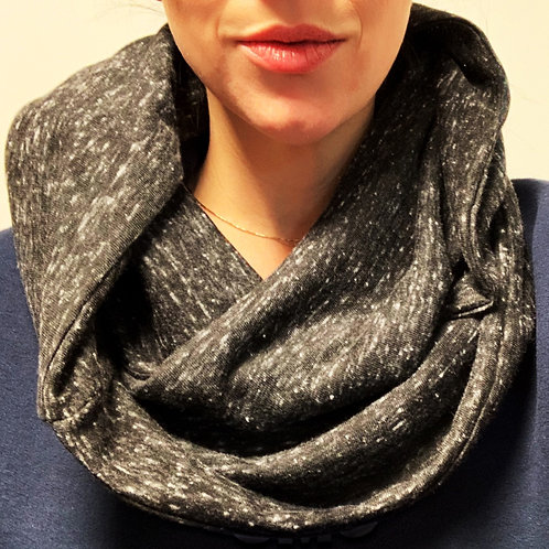 Black/White Jersey Knit Infinity Scarf with Hidden Zippered Pocket