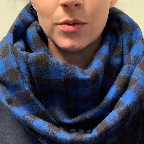 Smaller Blue/Black Flannel Infinity Scarf w/ Hidden Zippered Pocket