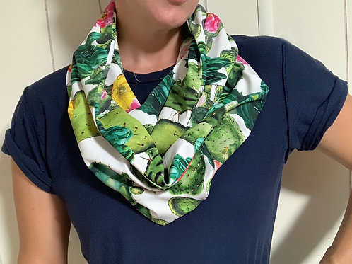 Colorful Cactus Athletic Knit Infinity Scarf w/ Zippered Pocket