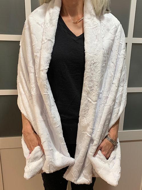 White Minky Sharf (scarf/shawl) w/ 2 zippered pockets