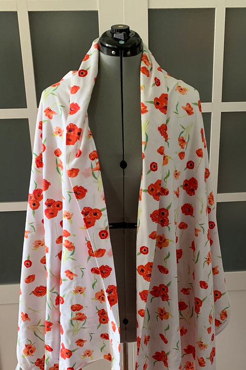 Red Poppy Jersey Knit Sharf (scarf/shawl) w/ 2 zippered pockets