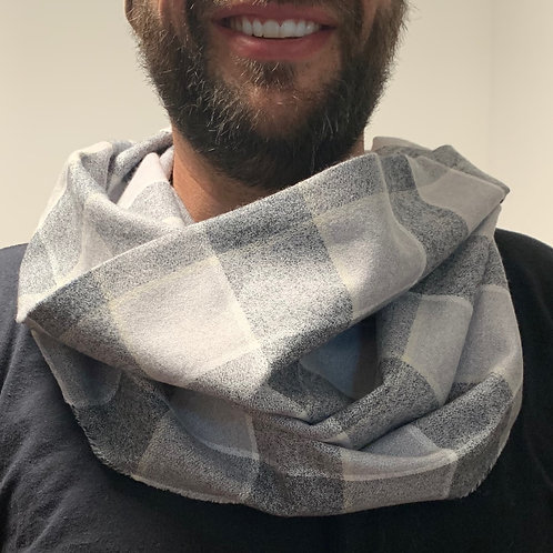 Grey/White Plaid Flannel Infinity Scarf w/ Hidden Zippered Pocket