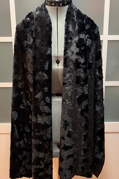 Black Minky Sharf (shawl/scarf) w/ 2 zippered pockets