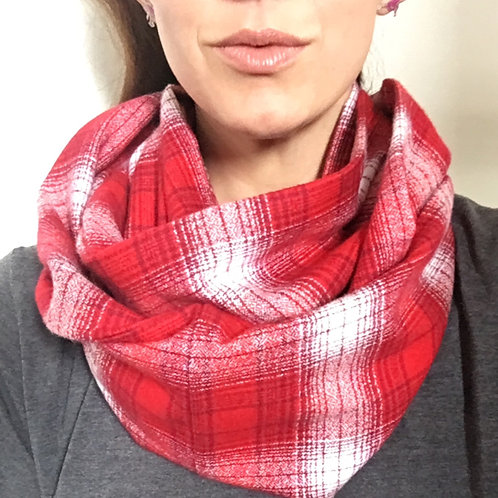Red/White Flannel Infinity Scarf w/ Hidden Zippered Pocket