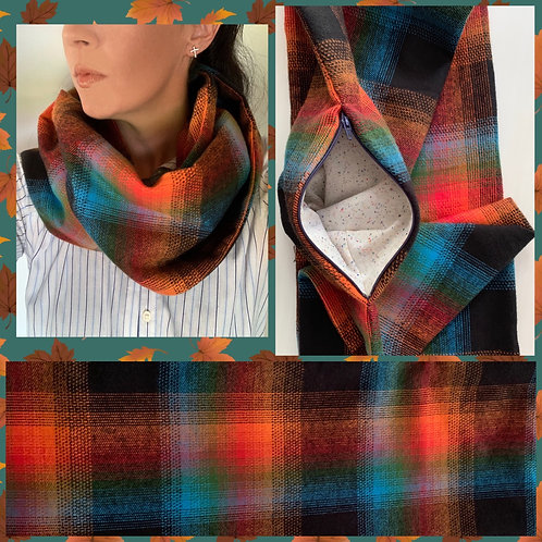 Multi-color Flannel Infinity Scarf w/ Zippered Pocket
