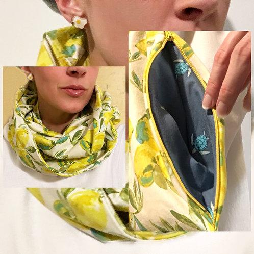 Lemon Jersey Knit Infinity Scarf w/ Hidden Zippered Pocket