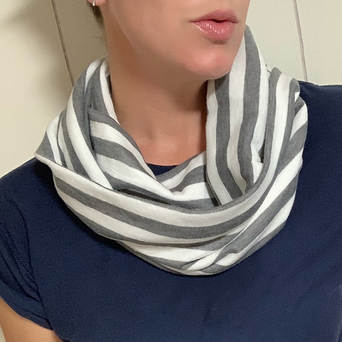 Grey & White Soft Jersey Knit Infinity Scarf w/ Zippered Pocket