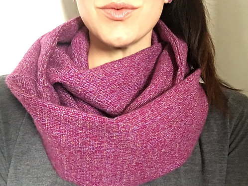 Purple Tweed Flannel Infinity Scarf w/ Hidden Zippered Pocket