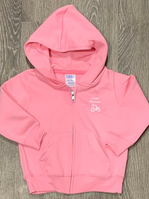 "Toddler ""Little Farmer""  Zip Core Fleece Hoodie, Pink"
