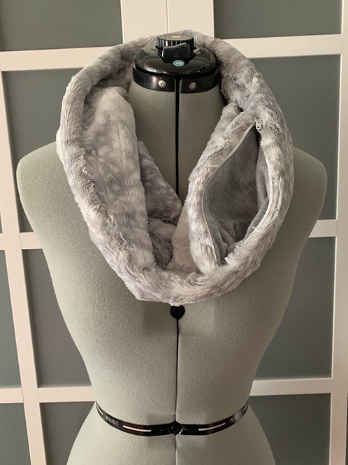 Minky Infinity Scarf w/ Zippered Pocket, 1 loop
