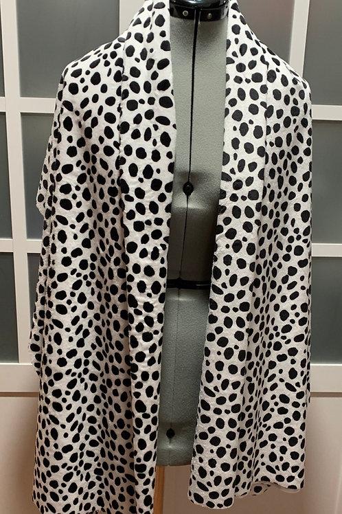 Dalmatian Minky Sharf (scarf/shawl) w/ 2 zippered pockets