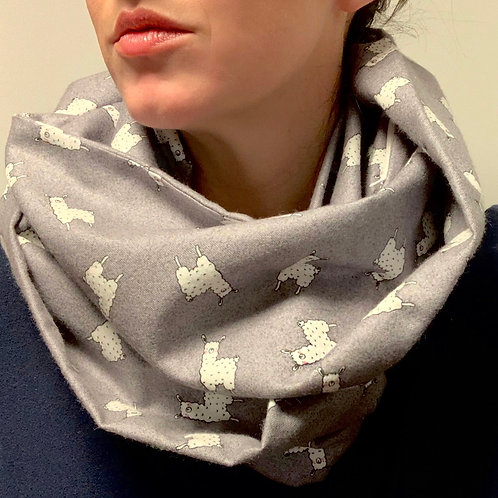 Light Flannel Happy Llama Infinity Scarf with Hidden Zippered Pocket