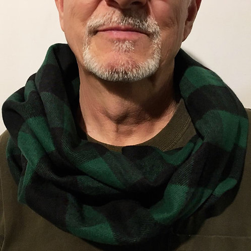 Green/Black Buffalo Plaid Flannel Infinity Scarf w/ Hidden Zippered Pocket