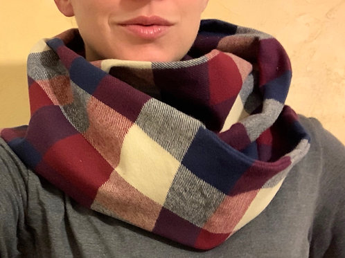 Flannel Hidden Zippered Pocket Infinity Scarf
