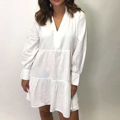 Nala White Linen Smock Dress