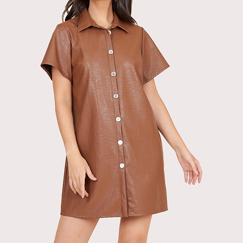 Eve Brown Faux Leather Dress