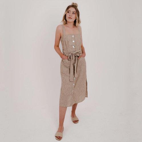 Liza Pinstripe Shell Dress