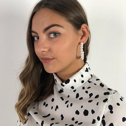 Bella Pearl Hoop Earrings