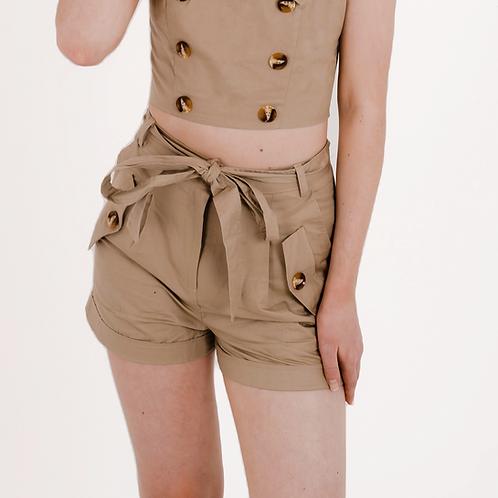 Beau Camel Paperbag Shorts