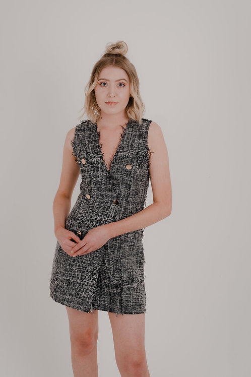 Talia Grey Double Breasted Dress