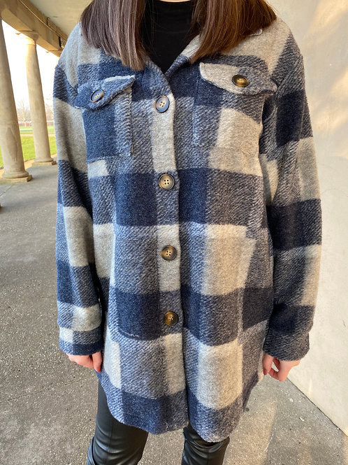 Ebony Navy Chequered Shirt Jacket