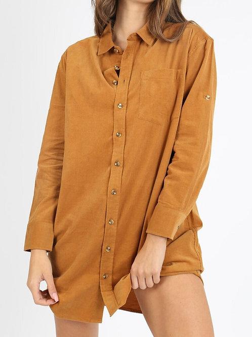 Naomi Mustard Cord Dress
