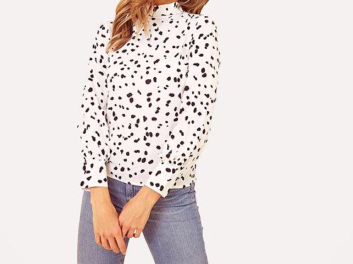 Nellie High Neck Dalmatian Blouse
