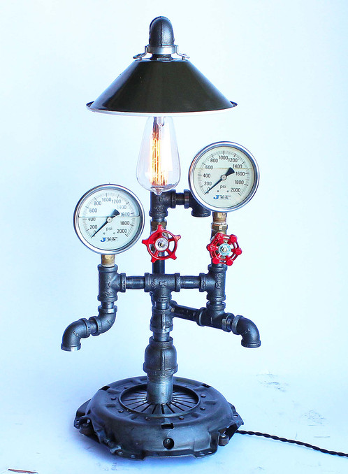 Vintage Clutch Plate Base Lamp | Industrial Lumination | Steampunk Lamps