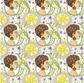 Citrus Lily Lady  - fabric design by URB