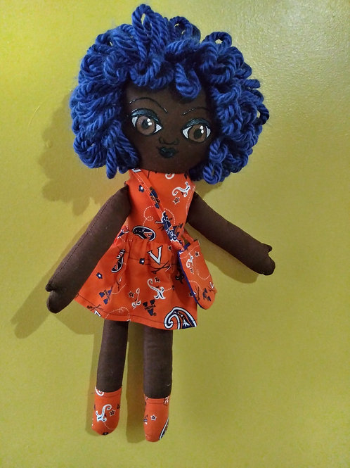 Dark skin blue haired girl in orange and blue outfit (only skirt is removable)