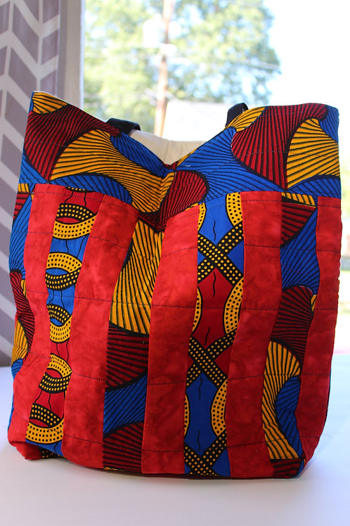 Quilted Tote Bag - Red, Yellow and Blue w/ Black Straps