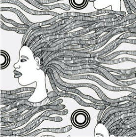 Love My Natural in b/w  - fabric design by URB