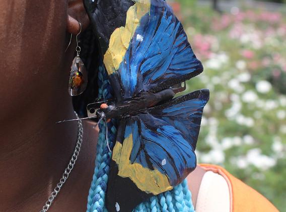 Polymer clay Orange Oakleaf butterfly