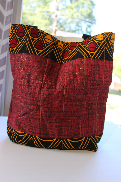 Quilted Tote Bag - Red, Black and Gold w/ Black Straps