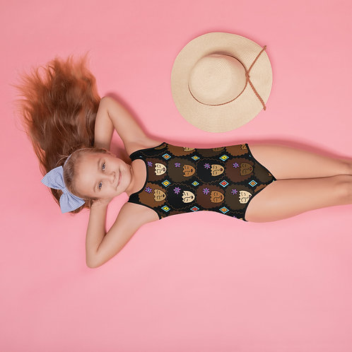 Coloring Curls All-Over Print Kids Swimsuit - Love My Afro