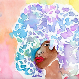 Watercolor Woman with Colorful Afro  - fabric design by URB