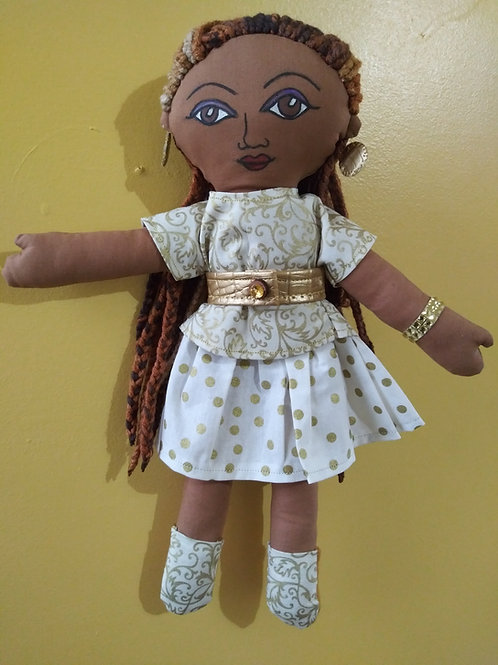 Braided hair brown skin girl in white and gold