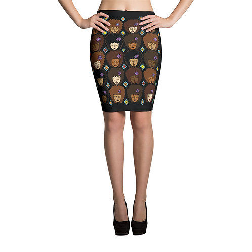 Coloring Curls Pencil Skirt - Love My Afro