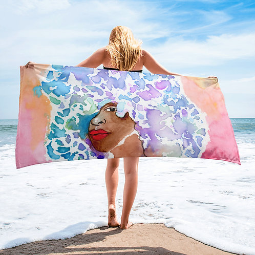 Watercolor Afro Beach Towel