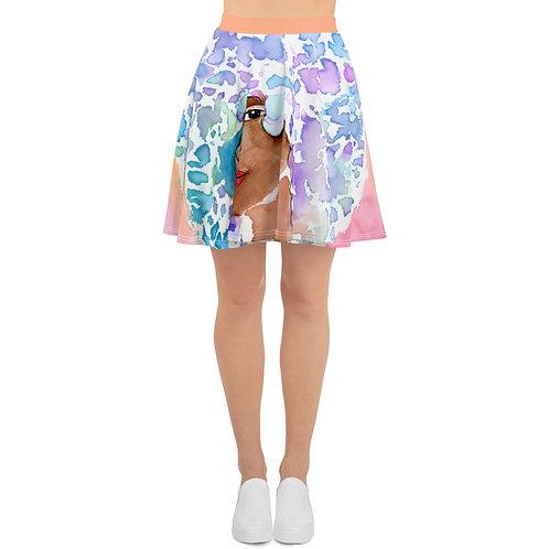 Coloring Curls Skater Skirt - Watercolor Afro