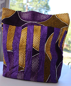 Quilted Tote Bag - Purple and Yellow w/ Black Straps