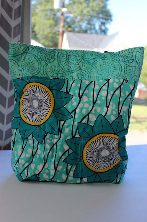 Quilted Tote Bag - Teal and Yellow w/ Black Straps