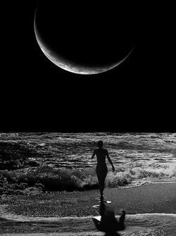 new moon ocean, black & white