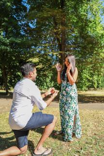 Surprise marriage proposal, London