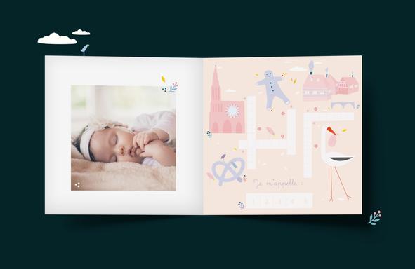 Graphisme - faire-part naissance - illustration cigogne épuré - mot fléché - thème alsace