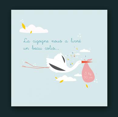Graphisme - faire-part naissance - illustration cigogne épuré