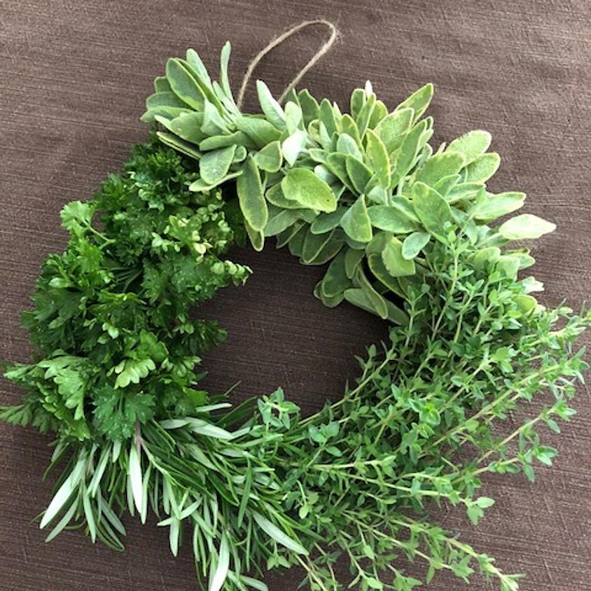 Herb Wreath Wine and Design