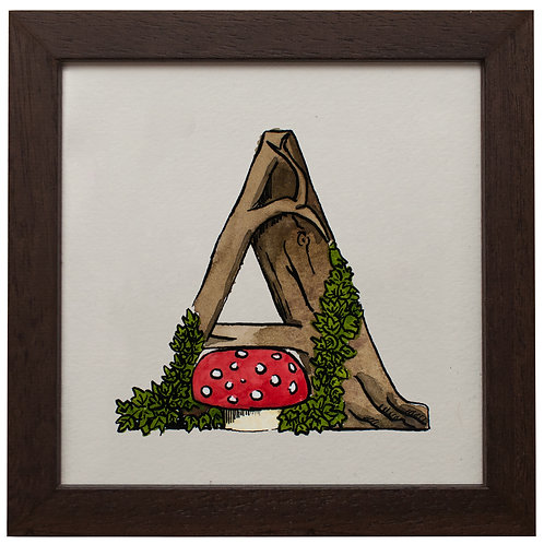 Single Letter Illustration Print (frame included at additional cost)